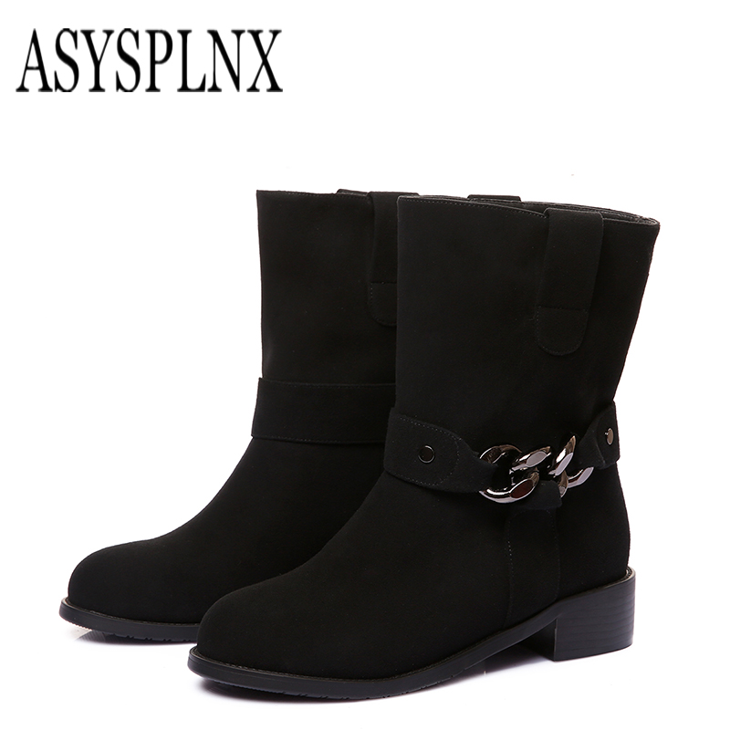 цены ASYSPLNX black flock genuine leather square heel round toe mid-calf boots for women Winter Fashion shoes Rugby Women Boots C-083