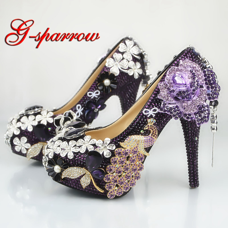 Luxurious Purple Phoenix Wedding Shoes Handmade Women Nightclub High Heel Shoes Crystal Rhinestone Bridal Pumps Party Prom Shoes cinderella high heels crystal wedding shoes 14cm thin heel rhinestone bridal shoes round toe formal occasion prom shoes