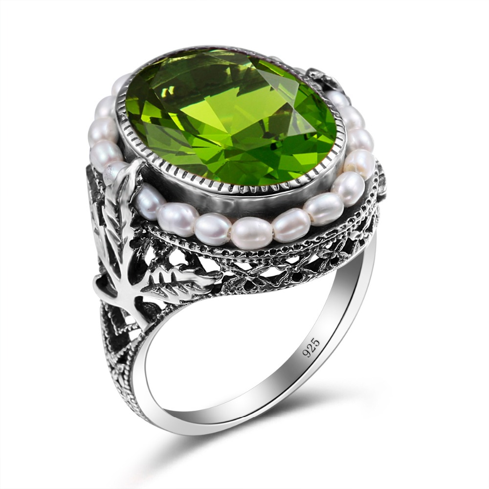 Authentic  Natural Pearl Gemstone Turkish 925 Sterling Silver Woman Ring