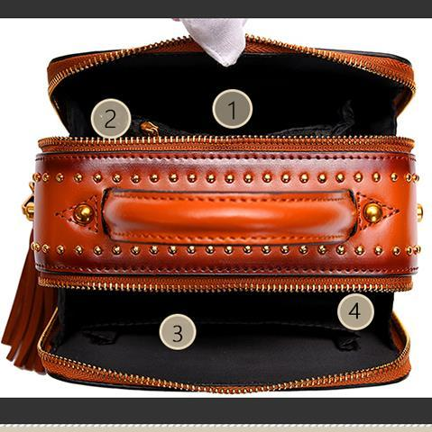 Bag Women 2018 New Messenger bags Female Genuine Leather Tassel shoulder Bag Small Flap bag Vintage Fashion Rivet Mini Handbag 4