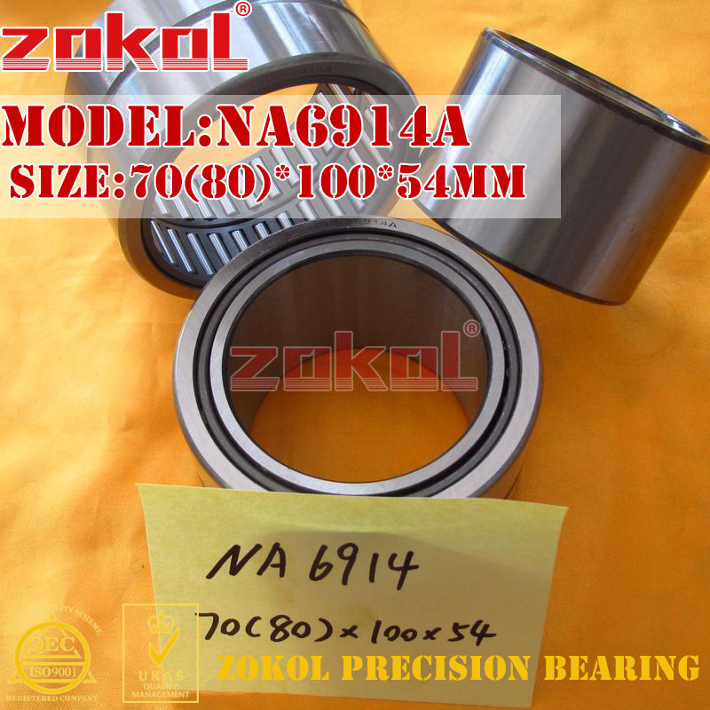 ZOKOL bearing NA6914 A NA6914A Entity ferrule needle roller bearing 70(80)*100*54mm chainsaw piston assy with rings needle bearing fit partner 350 craftsman poulan sm4018 220 260 pp220 husqvarna replacement parts