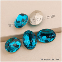 YANRUO #4120 10*14mm 13*18mm 18*25mm Blue Zircon Pointback Bellezza del Diamante ovale Strass Fancy Rhinestone Di Cristallo Del Mestiere