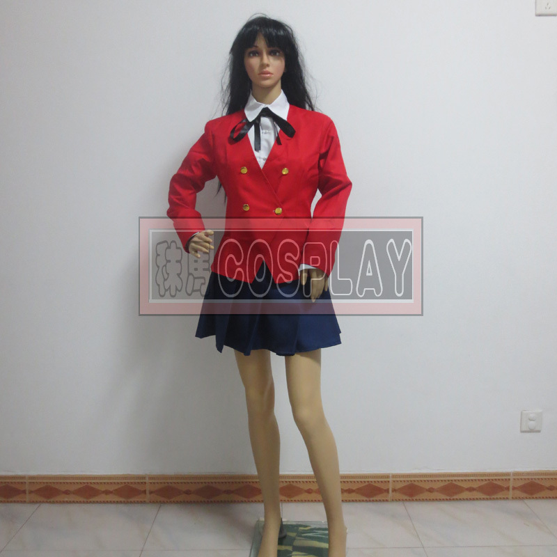 Anime TIGER DRAGON Toradora Aisaka Taiga Cosplay Costume School Uniform for Girls(Blazer+Blouse+Skirt+Tie)