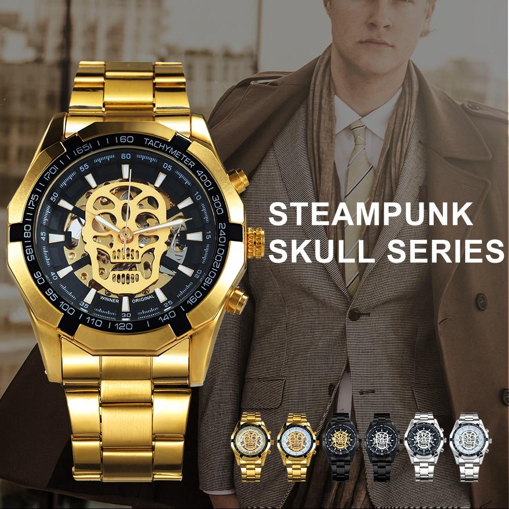 HTB1Rd7EphSYBuNjSsphq6zGvVXaF WINNER New Fashion Mechanical Watch Men Skull Design Top Brand Luxury Golden Stainless Steel Strap Skeleton Man Auto Wrist Watch