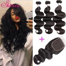 Shireen Brazilian Hair Weave 3 Bundles с кружевным закрытием Свободная часть 4 * 4 Человеческие волосы Body Wave Bundles с закрытием Brazillian Hair