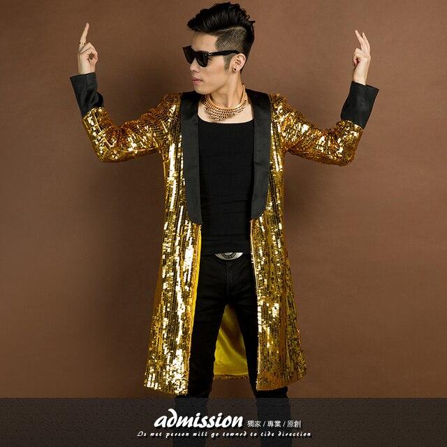 2016 nueva moda personalidad discoteca cantante paillette del oro hombres de la chaqueta de desgaste del funcionamiento de la etapa espectáculo outwear