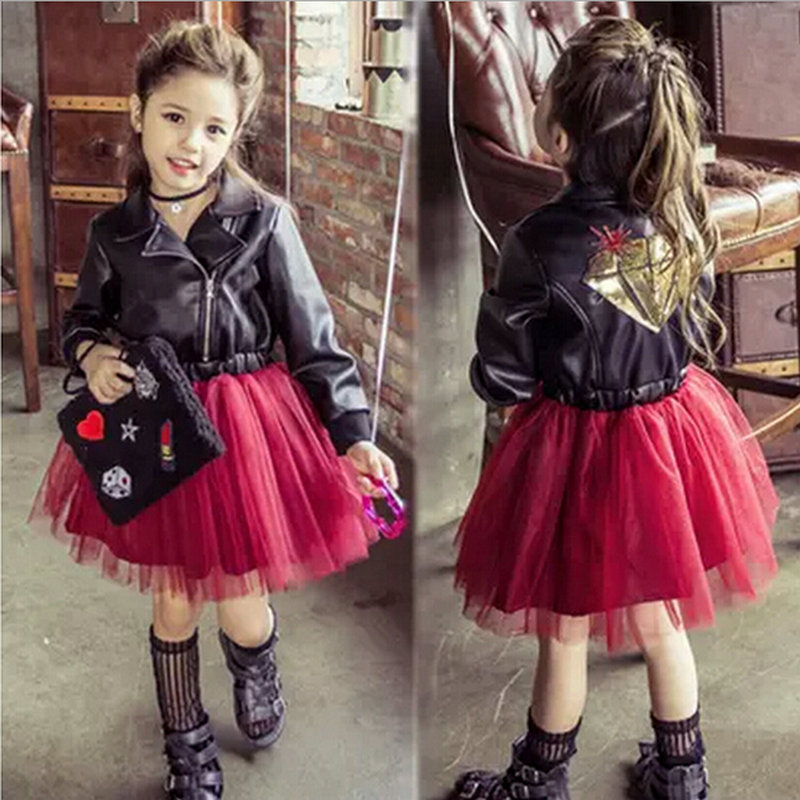 European Style Baby Girls Winter Clothing Sets Black Faux Leather Jacket Outwear Wine Mesh Tutu Skirt Fashion Kids In From Mother