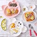 Crianças da criança Do Bebê Alimentação Infantil Formação Bacia com Colher Tampa Binaural Alimentação Do Bebê Dos Desenhos Animados Crianças Louça Cerâmica Placa Chupar