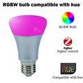 Nova chegada lâmpada rgbw zigbee compatível com matiz bridge1.0/2.0 iluminação lâmpada e26 e27 7 w controle by wireless aplicativo matiz