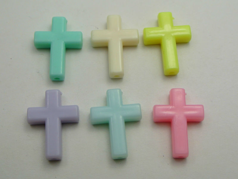 50 Mixed Pastel Color Acrylic Cross Beads Charms 24X18mm Jewelry Making
