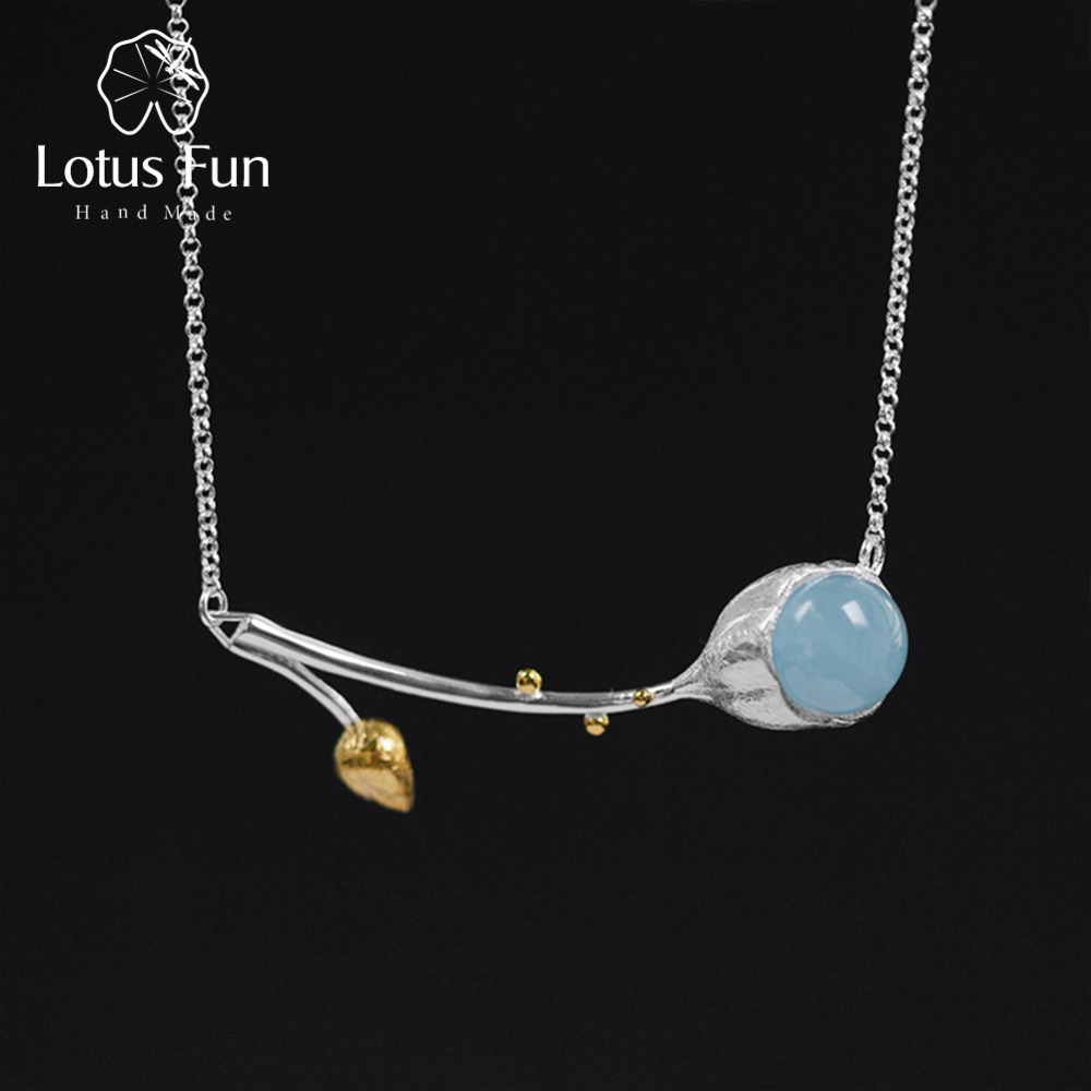 Lotus Fun Real 925 Sterling Silver Natural Stone Handmade Designer Fine Jewelry Elegant Lotus Buds Necklace for Women
