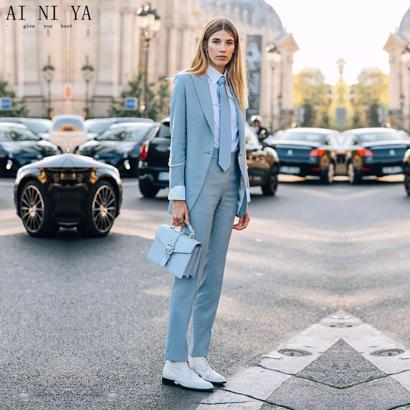 Light Sky Blue Female Office Uniform Womens Trouser Suit Ladies Pant Suit Formal Business Work Suit Womens Wedding Tuxedo