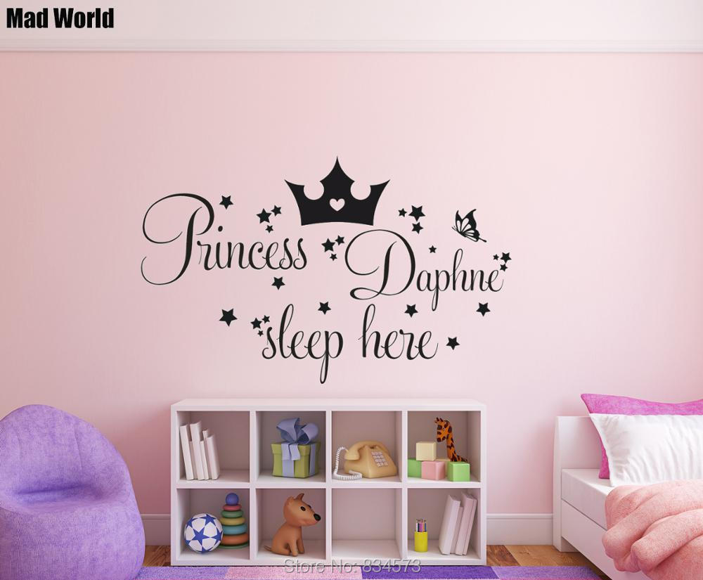 Personalised Princess Custom Name Sleep Here Wall Art Stickers Wall Decal Home DIY Decor ...