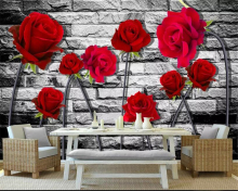 цена на beibehang Custom wallpaper 3D red rose Brick wall TV background wall 3d living room bedroom backdrop murals 3d wallpaper tapety