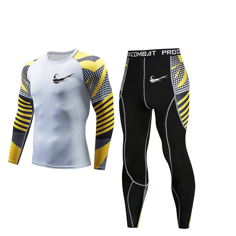 High quality compression men's T-shirt shirt sports suit quick-drying clothes sportswear gym muscle fitness male MMA suit