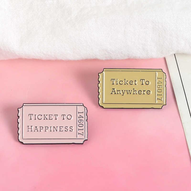 Эмалированные булавки для билетов на счастье в любом месте на заказ винтажный мешочек для брошек одежды нагрудные значки креативные ювелирные изделия подарок