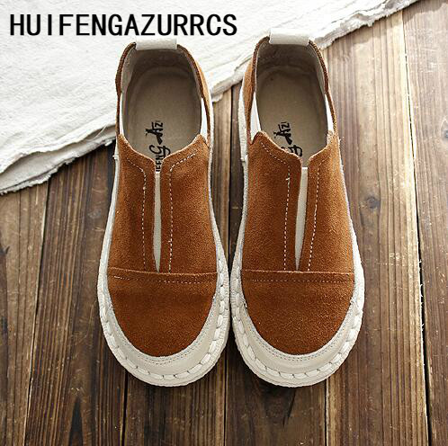HUIFENGAZURRCS 2019 spring and autumn new literary and artistic mori girl casual shoes round head flat