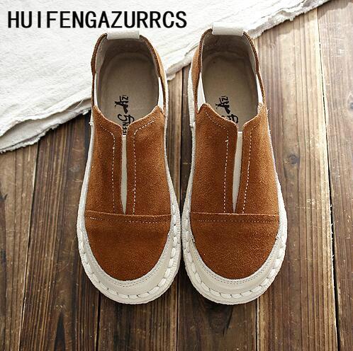HUIFENGAZURRCS 2019 春と秋の新文学と芸術森ガールカジュアルシューズ、丸頭平底靴、 3 色  グループ上の 靴 からの レディースフラット の中 1