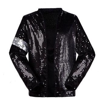 Classic MJ Michael Jackson Billie Jean Sequin Jacket Kids Adults Show Pacthwork Black Outwear Plus Size 4XS-4XL
