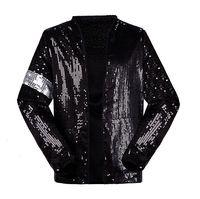 Classic MJ Michael Jackson Billie Jean Sequin Jacket With Glove Kids Adults Show Pacthwork Black Outwear