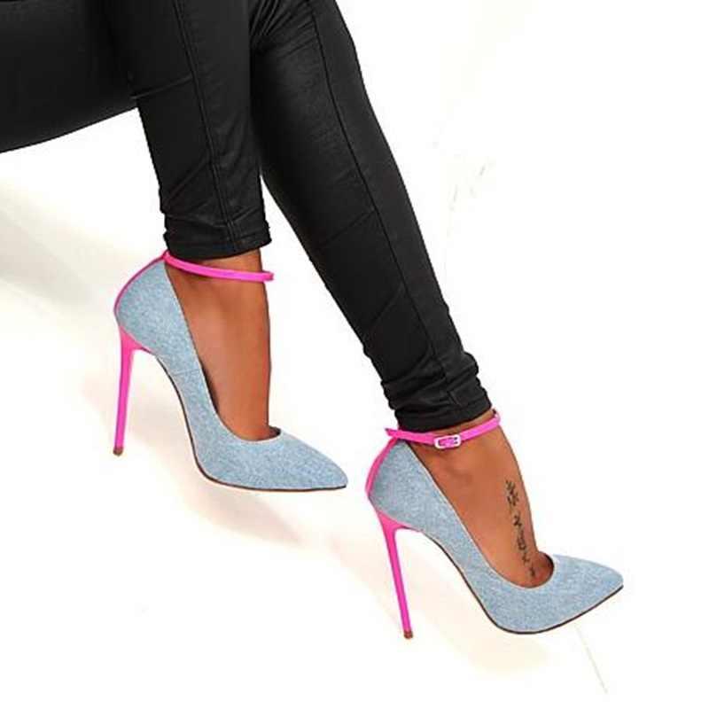 Mavi kot yüksek topuk pompaları seksi sivri burun ayak bileği kayışı kadın ayakkabı 2019 yeni pembe Stiletto topuk ziyafet elbise ayakkabı artı boyutu