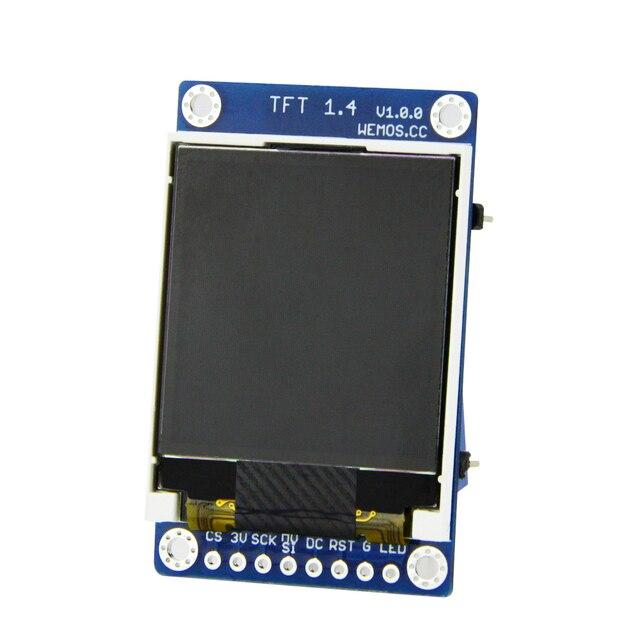 "ESP8266 TFT 1.4 מגן V1.0.0 תצוגת מסך מודול עבור D1 מיני 1.44 ""אינץ 128X128 SPI LCD ST7735S"