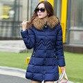 Grande Natural Real Raccon Fur 2016 Nova Moda das Mulheres Jaqueta de Inverno Para Baixo Casaco De Algodão Para Baixo Parka Amassado Feminino Jaqueta Jaetck
