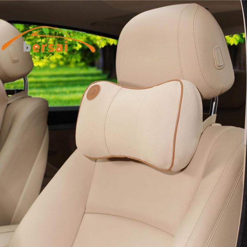 BERSAI 1 pc British style Carbon fiber style soft Neck Pillow Car seat Headrest Car styling Car headrest Auto accessories Pillow