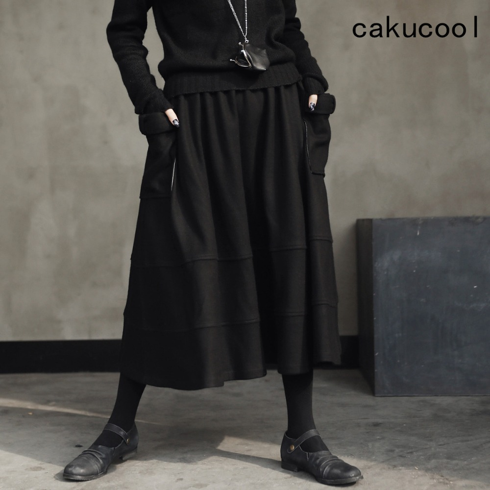 Cakucool Dark Black Women Winter Woolen Skirts Vinage Big Pockets A-line Patchwork All match Mid Long Skirt