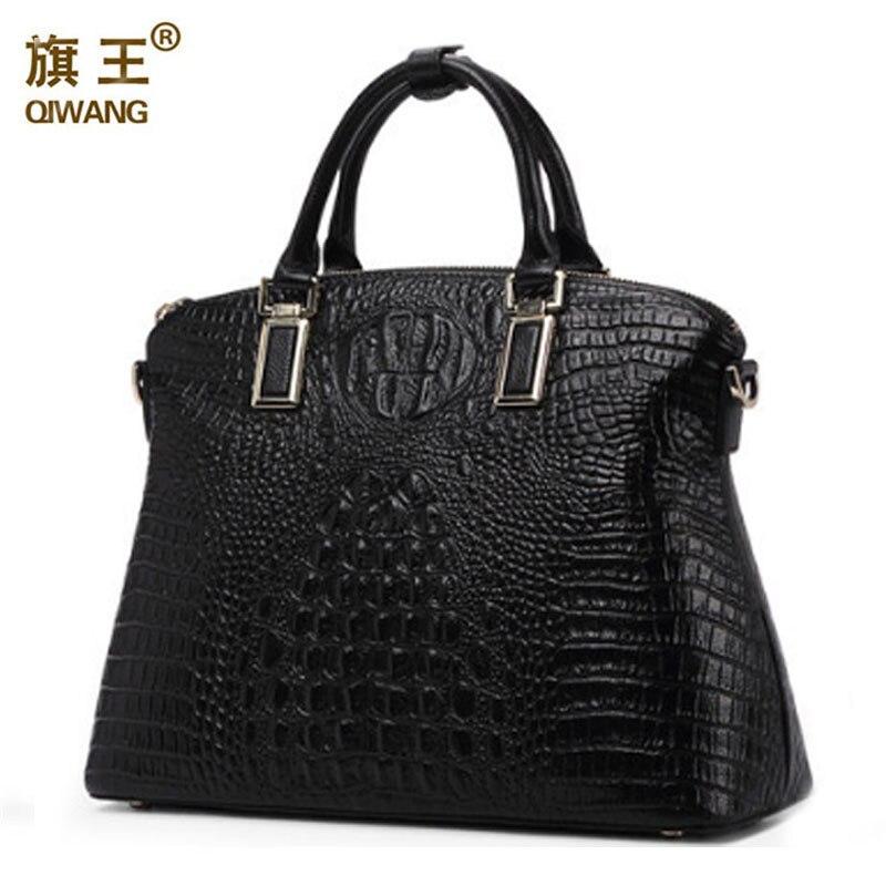 Qiwang 古典的な高級女性のショルダーバッグ 100% 本物のワニ革黒ハンドバッグブランドデザイナートートバッグ大容量  グループ上の スーツケース & バッグ からの トップハンドルバッグ の中 1