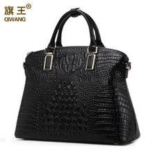 e2a72b1ceb8 Qiwang Klassieke Luxe Vrouwen Tas Krokodil 100% Echt Leer Vrouwen Handtas  Merk Designer Tote Bag