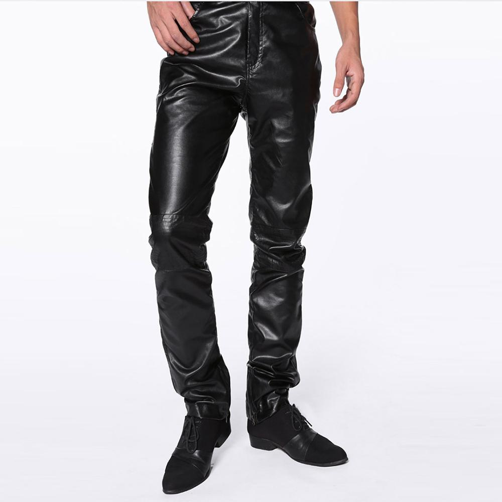 Faux Motocicleta Hop Leather Envío Material Hip Pantalones Casual Skinny Más Libre Tamaño Mens 2018 Negro Pu Cuero zXwqxFC