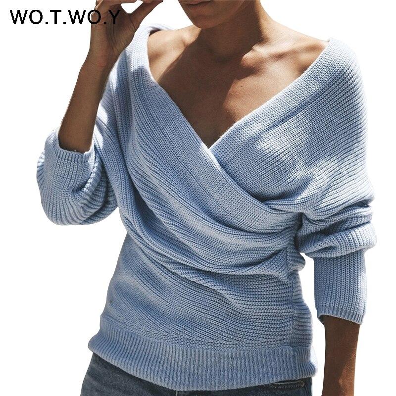WOTWOY Sexy V образным вырезом крест вязаный свитер для женщин пуловер выдалбливают 2018 зима кашемировый женский свитер спинки уличная джемпер