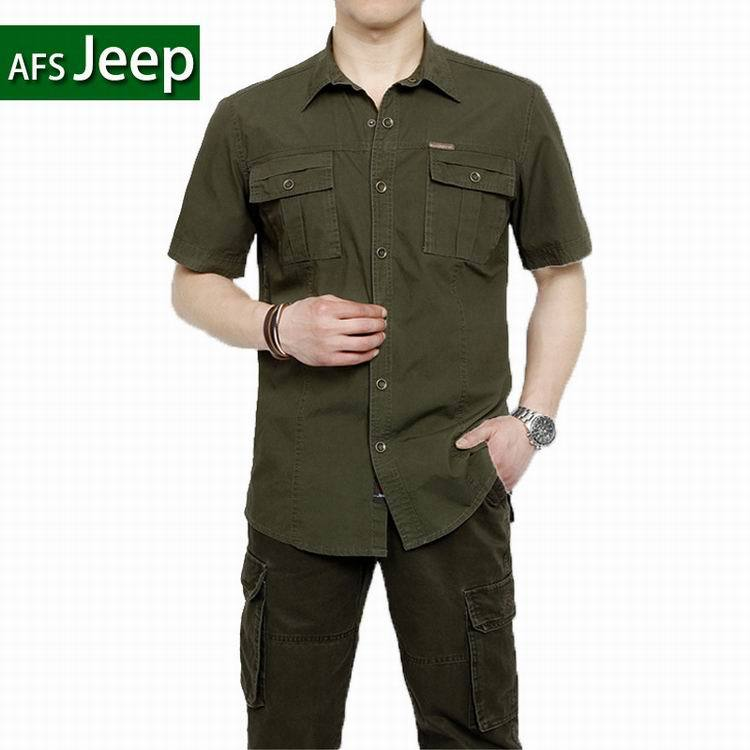 Plus Size XXXXXL Summer Men's 100% Cotton Shirts Solid Color Dress Short Sleeve Shirts Casual BEST SELL Man Brand AFS JEEP 5003