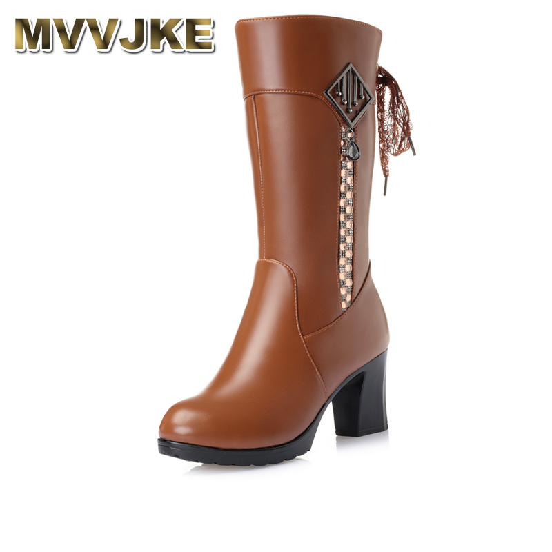 MVVJKE Size 35-41 Women High Heel Boots Thick Fur Genuine Leather Mid Calf Boots Women Winter Shoes Warm Botas Women Footwears taoffen women genuine leather flats snow boots women metal buckle mid calf boots warm fur shoes for women footwears size 34 39