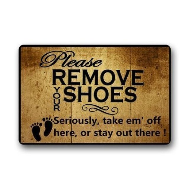 Beautiful Goodbath Funny Bath Mat Rugs   Quote Please Remove Your Shoes Non Slip  Rectangle Floor
