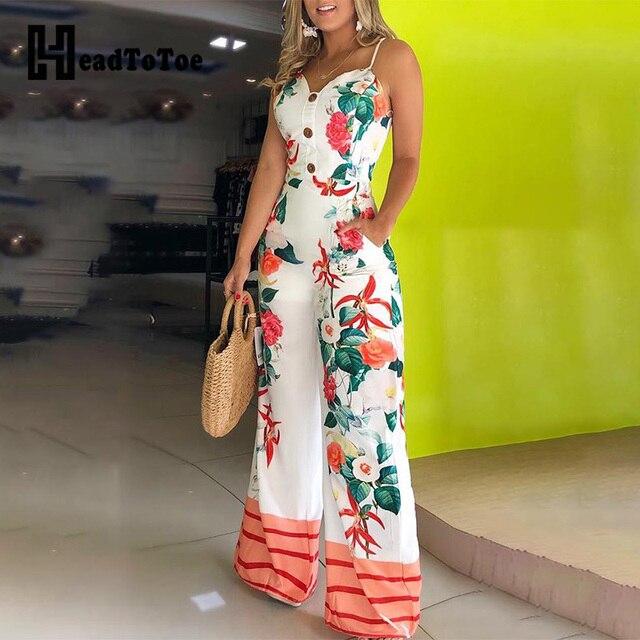 7352b4e0e67c À venda Spaghetti Strap Cópia Floral Macacões Macacão para As Mulheres