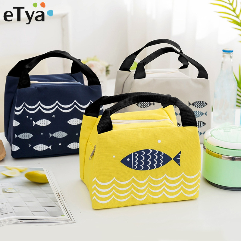 eTya Female Lunch Food Box Bag Fashion Insulated Thermal Food Picnic Lunch Bags for Women kids Men Cooler Tote Bag Case цена