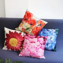 Fashion Printed Linen Flower Cushion Cover Home Sofa Bed Chair Car Decorative Pillows 45*45 Cm