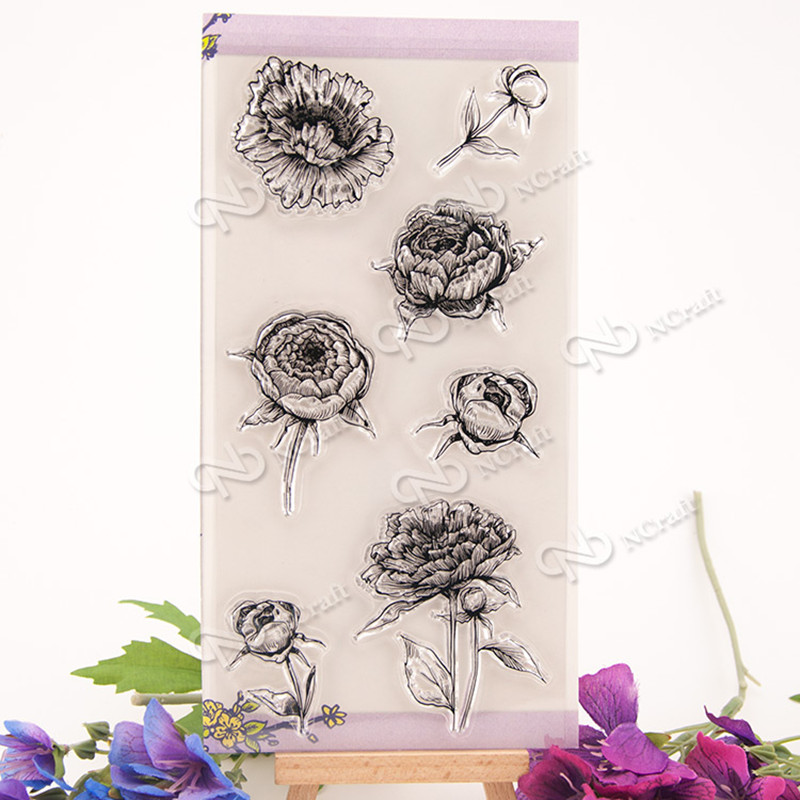Rose design for wedding gift DIY scrapbook paper card rubber transparent clear stamp T0235 clear acrylic a3a4a5a6 sign display paper card label advertising holders horizontal t stands by magnet sucked on desktop 2pcs