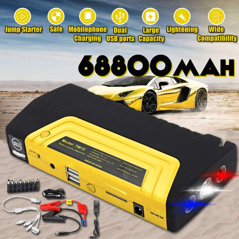 Multifunction Jump Starter 68800mAh 12V 600A USB Portable Power Bank Car Battery Booster Charger Starting Device