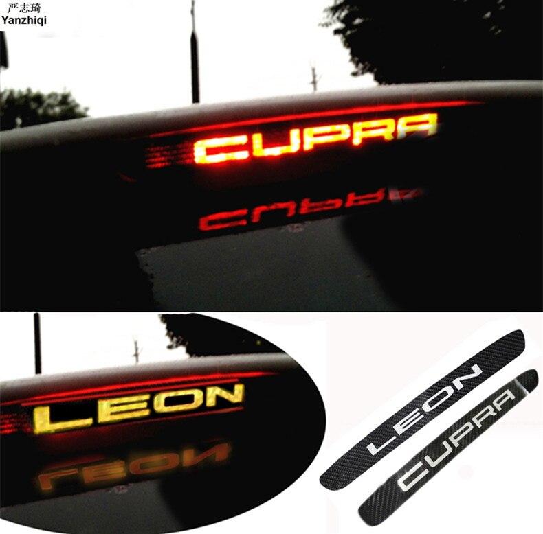 1pc Carbon Fiber Car Stickers High Brake Lights Lamp HIGH MOUNT STOP LAMP For Seat Leon Cupra Fr Fr+1pc Carbon Fiber Car Sticker