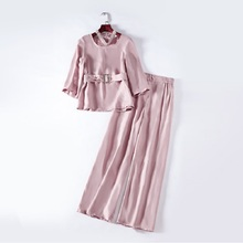 Work Pant Suits Autumn Spring Summer Women Beading Halter Neck Pink Tops Blouse+Wide Leg Pant Sets Female Clothing Suits Lady