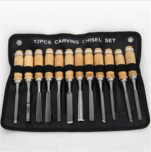 Wood Working Chisel Carving Knife 12pcs/set Hand Tool Set Carved Hand Work Wood Handle Engraving Tools with Bag