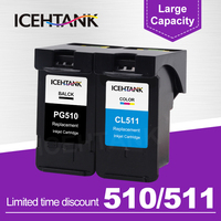 ICEHTANK Remanufactured Ink Cartridge For Canon PG510 PG 510 510XL CL511 PG 510 PIXMA iP2700 MP250 MP270 280 Printer Cartridges