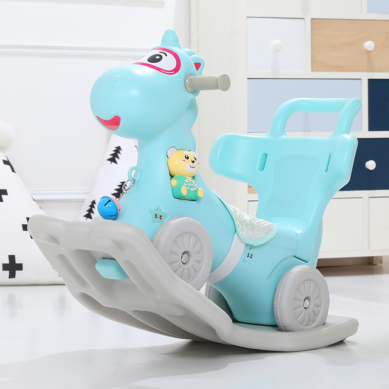 New Unicorn Children's Trojan Horse with Music Dual Use Rocking Horse Back Plastic Kids Ride on Toys 1-2 years old Kids Rocking