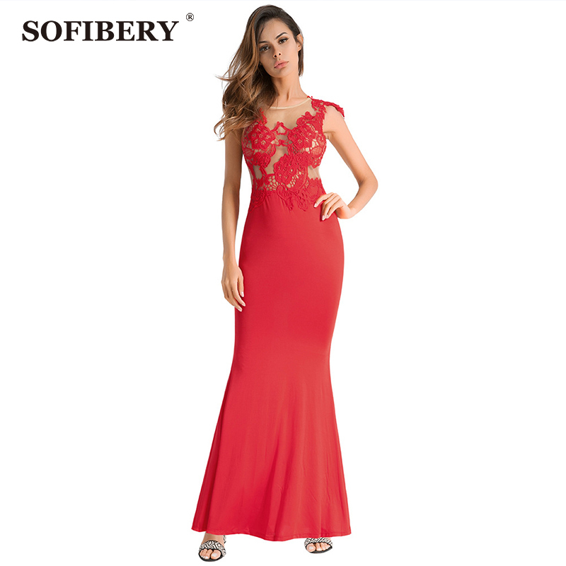 SOFIBERY Summer fashion sexy womens lace stitching dress Halter perspective casual party long dress O508
