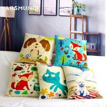 Cute Animal Cushion Cover Fox Dog Cat Throw Pillowcase Linen Covers for Sofa Car Home Decoration