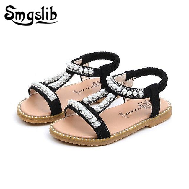 8430fc8f2ad Filles sandales enfants plage sandales bébé filles chaussures de loisir à  la mode 2019 été bambin enfants perles Pu cuir sandales