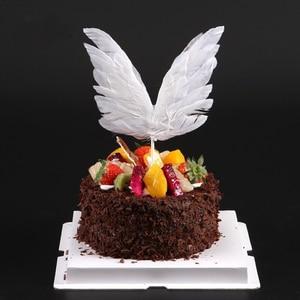 Image 5 - 天使の羽の旗ストリングライト天使のキャンドル結婚式のためのケーキトッパーセットパーティーの装飾誕生日ケーキフラグベーキング装飾